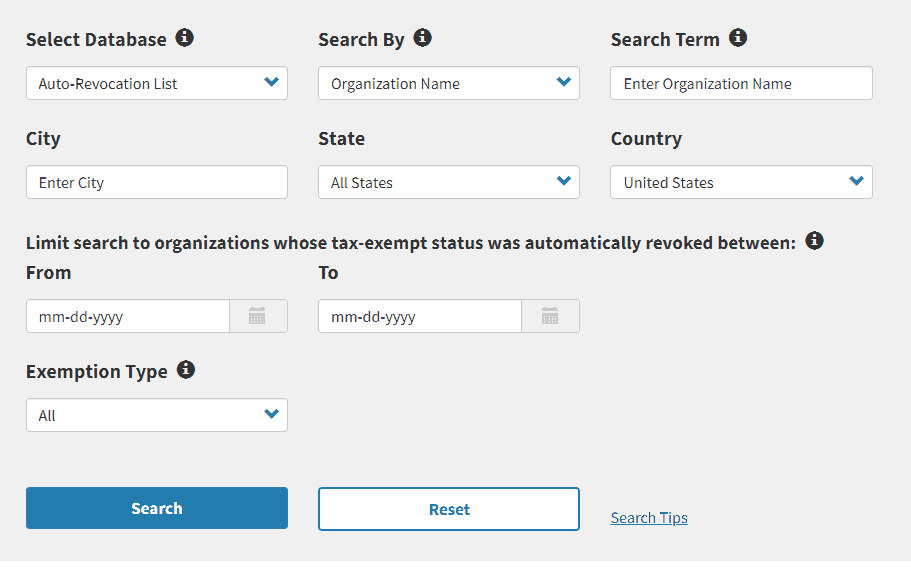 irs tax exempt search