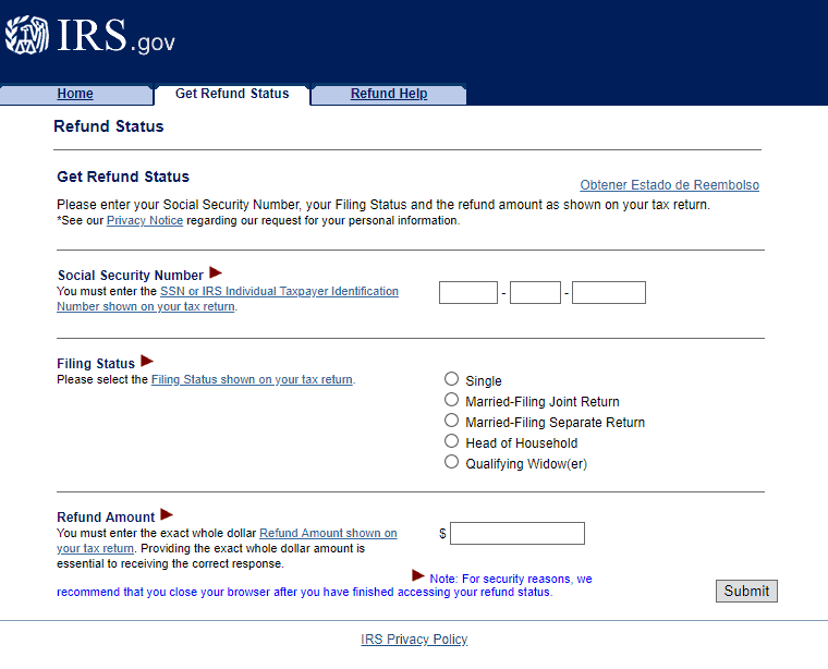 irs online refund