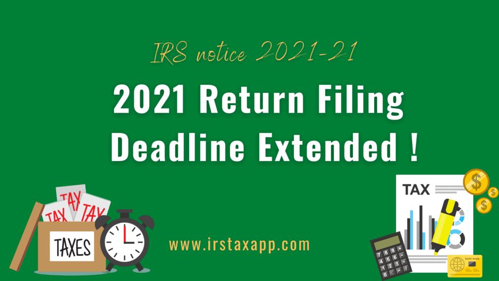 Tax Filing Deadline 2021